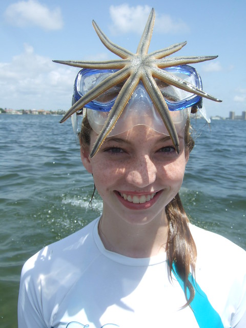 Kristine with a 9 armed starfish