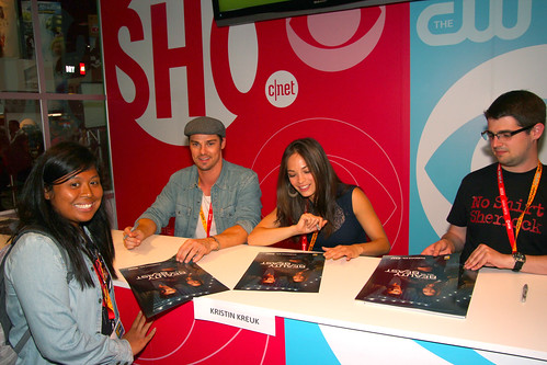 Jay Ryan and Kristin Kreuk signing at the CBS Booth