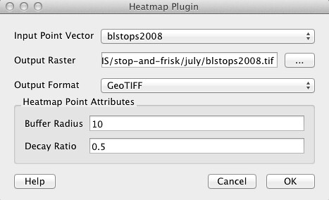 Heatmap plugin with 10 buffer, .5 decay