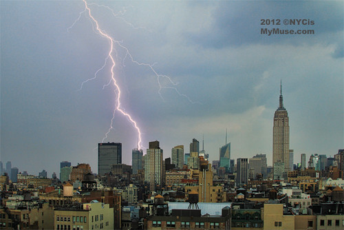 Monster Storm! Huge Lightning Flash on midtown NYC skyline behind NY Times