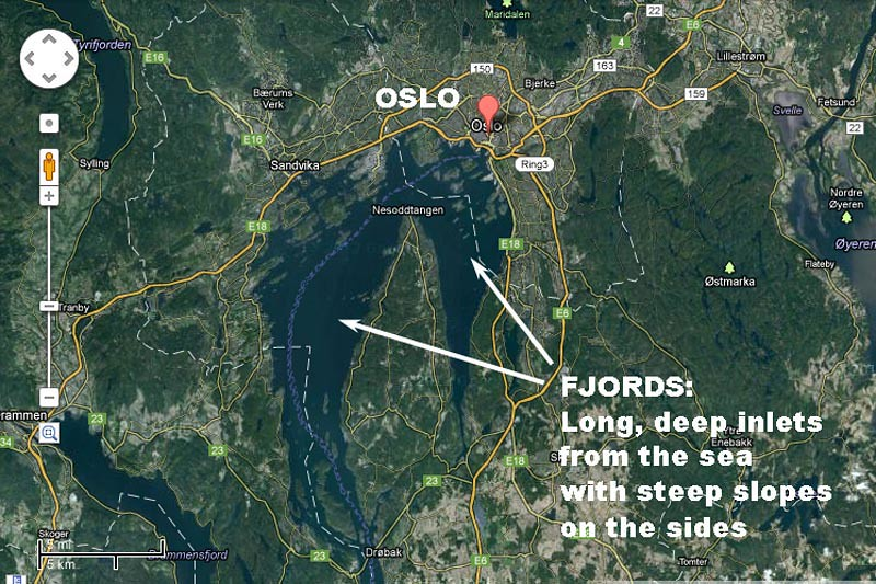 Oslo and fjords - Google Map