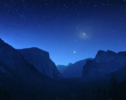 無料写真素材, 自然風景, 渓谷, 岩山, 星, 風景  アメリカ合衆国, ヨセミテ国立公園, 青色・ブルー