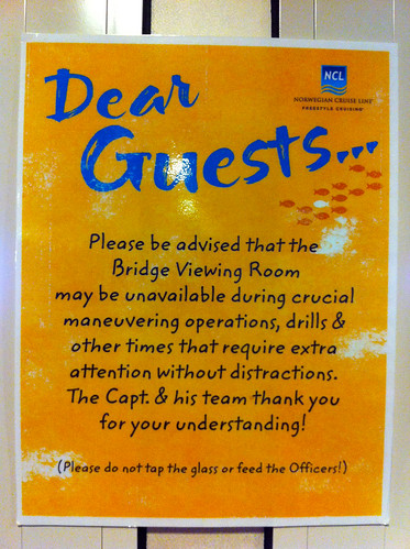 Norwegian Pearl - Bridge Viewing Room Sign