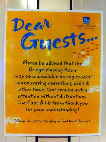 Norwegian Pearl - Bridge Viewing Room Sign