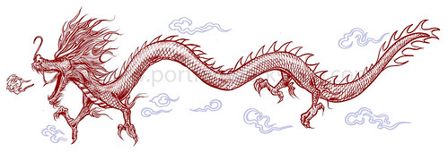 Chinese dragon illustration for Singapore Zoo - colours (watermarked)