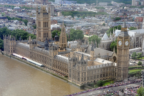 Le parlement anglais vu de la London Eyes. On voit la tour Big Ben