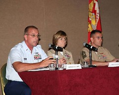 MCPOCG Leavitt and senior enlisted leaders from the U. S. Navy and U. S. Marine Corps