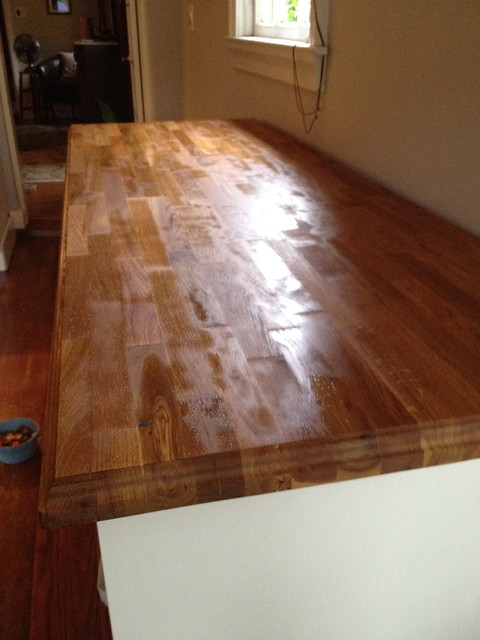 best method for treating a butcher block counter top old town home. Black Bedroom Furniture Sets. Home Design Ideas