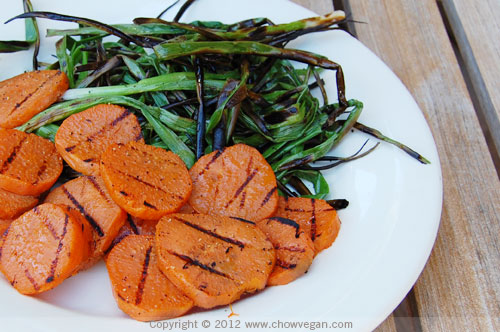 Grilled Sweet Potatoes and Green Onions