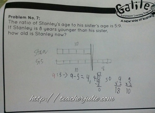 Sample of Singapore Math age word problem