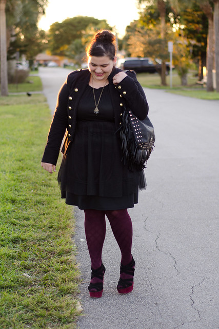INC Jacket, H&M dress, no nonsense tights