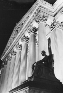 Photograph of the National Archives Building at Night at the Pennsylvania Avenue Entrance, 1972