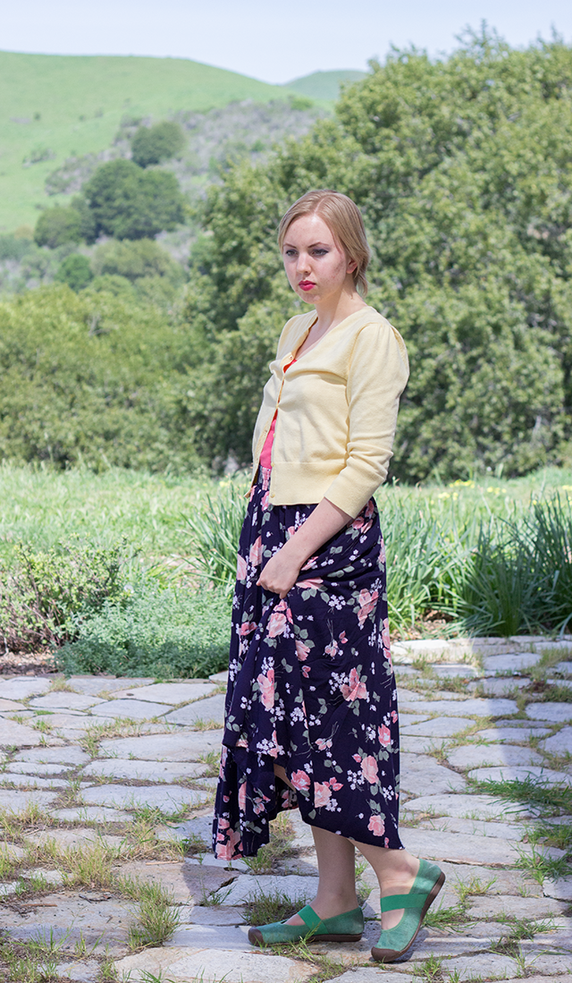 lemon yellow cropped cardigan, floral vintage midi skirt