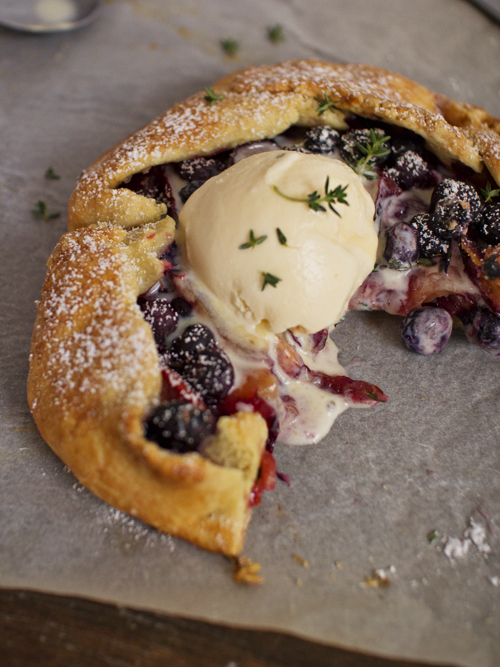 plum, blueberry & thyme galette