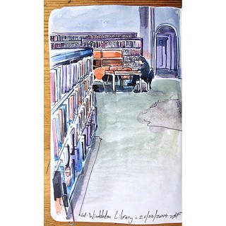 Wed 26 March's sketch of the day is the study area of Wimbledon Library.