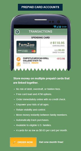 Sign Up Section for FamZoo Prepaid Card Accounts