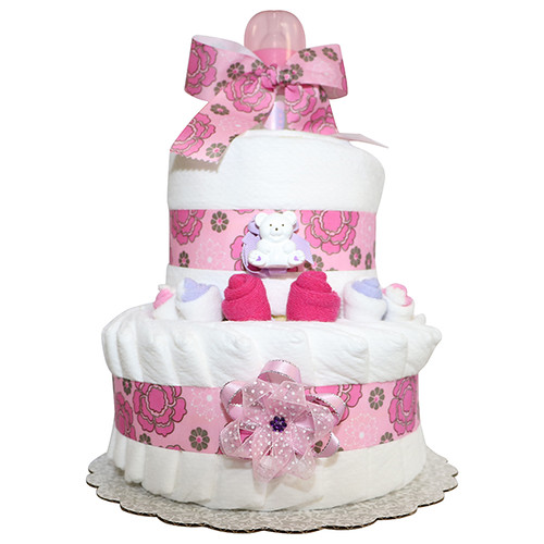 Little Teddy Baby Girl 2 Tier Diapercake