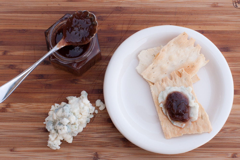 Rhubarb, vanilla, balsamic jam - with crackers and blue cheese crumbles, my favorite
