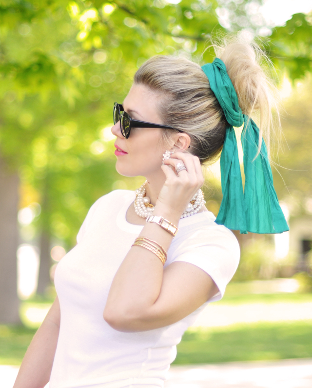 big messy hair bun with silk scarf