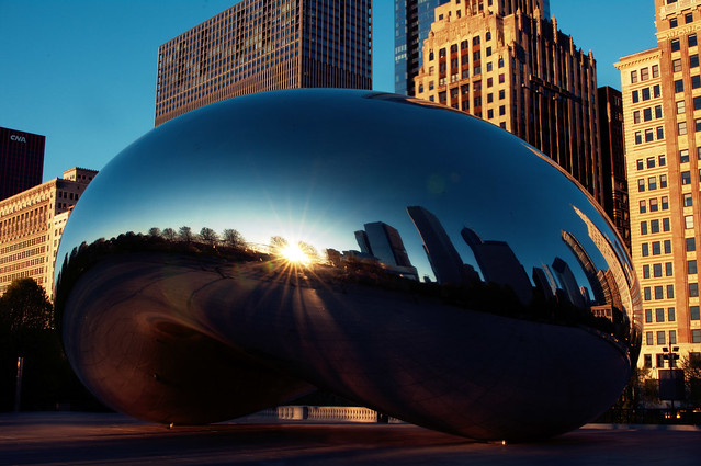 sun rises in the bean