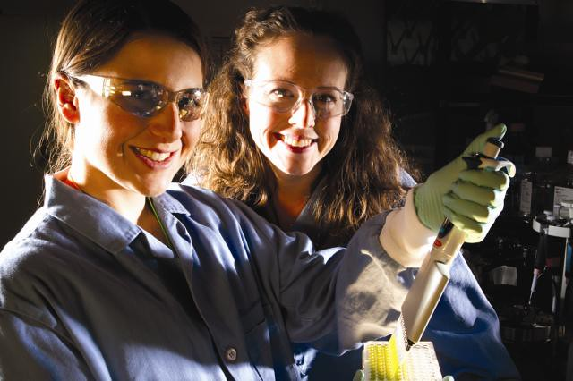 Los Alamos student Calla Glavin (left) and Taraka Dale, a researcher in the Bioscience Division on the Ultrasonic Algal Biofuel Harvester team, measure the lipids harvested from algal cells.