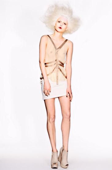 08_White Background Studio Fashion Photography, White Skirt, Chiffon Blouse