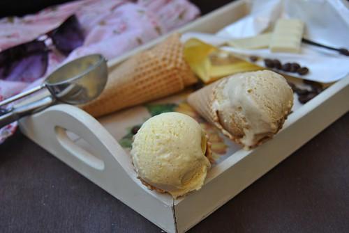 Vanilla Ice cream and White Chocolate Coffee Ice Cream