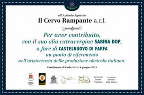 """Uno dei riconoscimenti ottenuti dall'Azienda Agricola """"Il Cervo rampante"""" a Farfa"""
