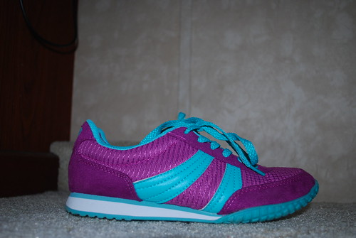Purple and Turquoise Running Shoe