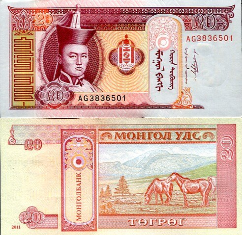 20 Tugrikov Mongolsko 2011