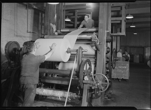 Mt. Holyoke, Massachusetts - Paper. American Writing Paper Co. Super-calender - putting on roll, starting operation, 1936