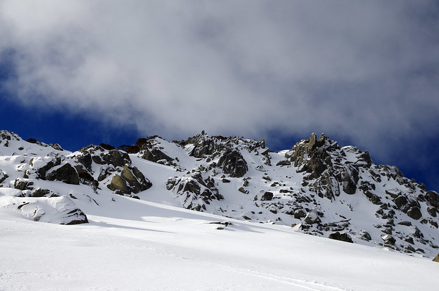 Climbing up to the Snowy Mountains Ridgeline