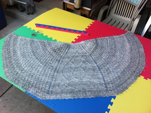 On the Moor shawl blocking - isn't it beautiful? by BlueDragon2