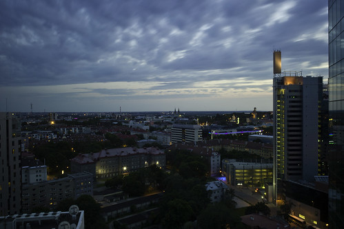 Night view from our hotel room on 17th floor at Swissotel Tallinn, Tallinn, Estonia.