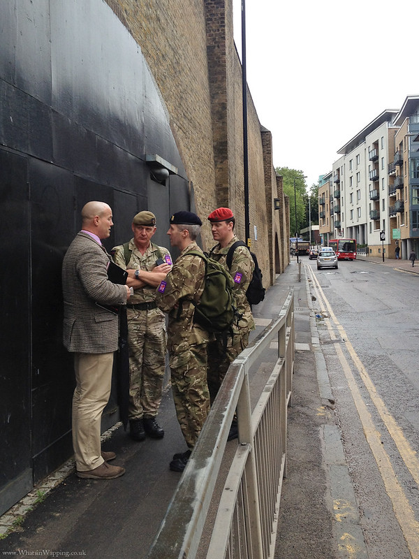 Troops outside Tobacco Dock in Wapping Lane - 16 July 2012