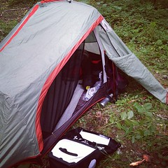 Tent in the morning.