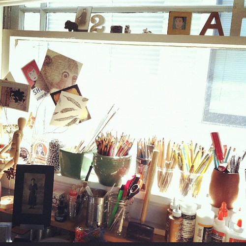 Morning light  in my mom's studio.