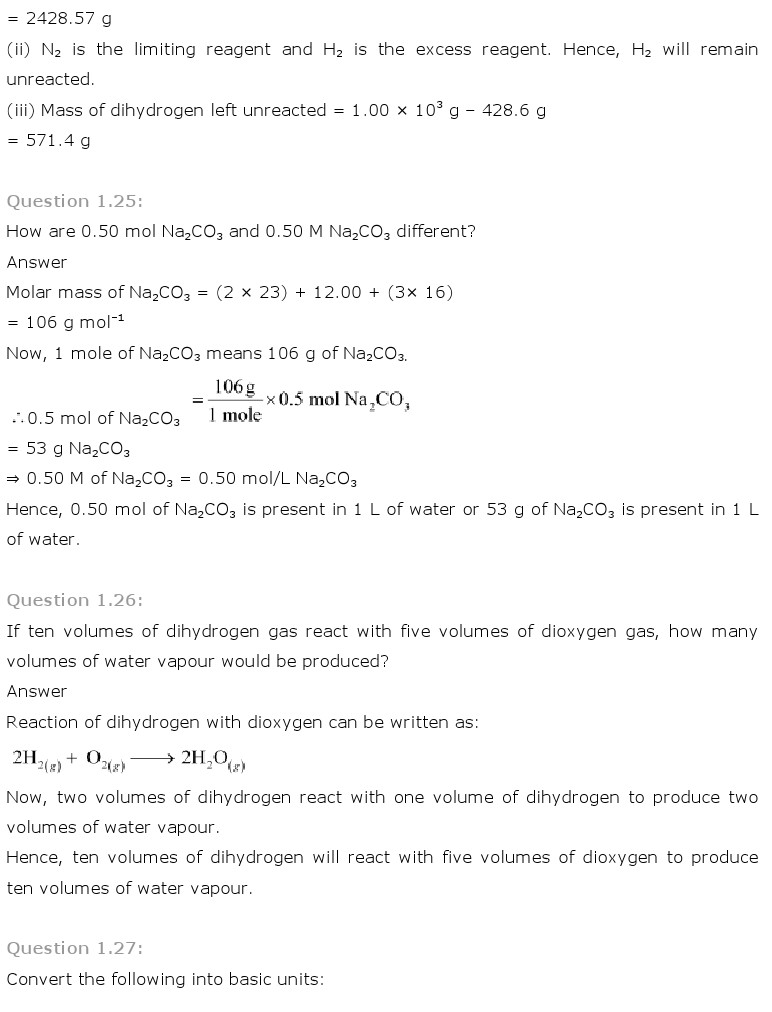 NCERT Solutions for Class 11th Chemistry Chapter 1 - Some basic Concepts of Chemistry
