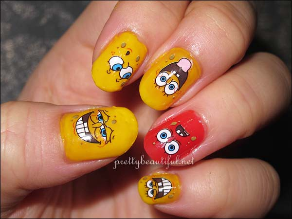 Spongebob Squarepants Nail Art Sticker Completed
