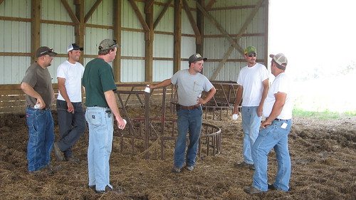 Participants of the BFRDP-funded KyFarmStart program in Kentucky listen to their instructor during an on-farm demonstration field day.
