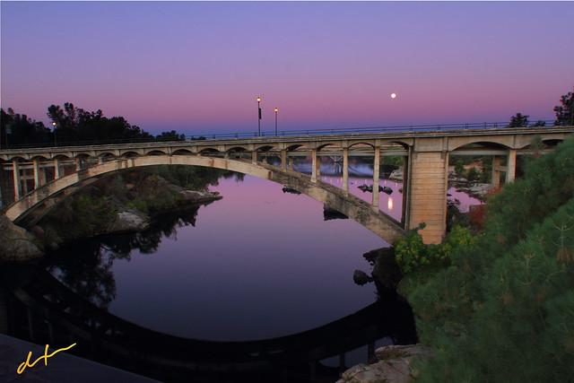 Moonset over Rainbow Bridge Folsom California | Flickr ...