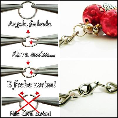 detalhes maxi colar DIY faça você mesma transforme seu colar em maxi colar, como abrir e fechar argolas de bijuteria