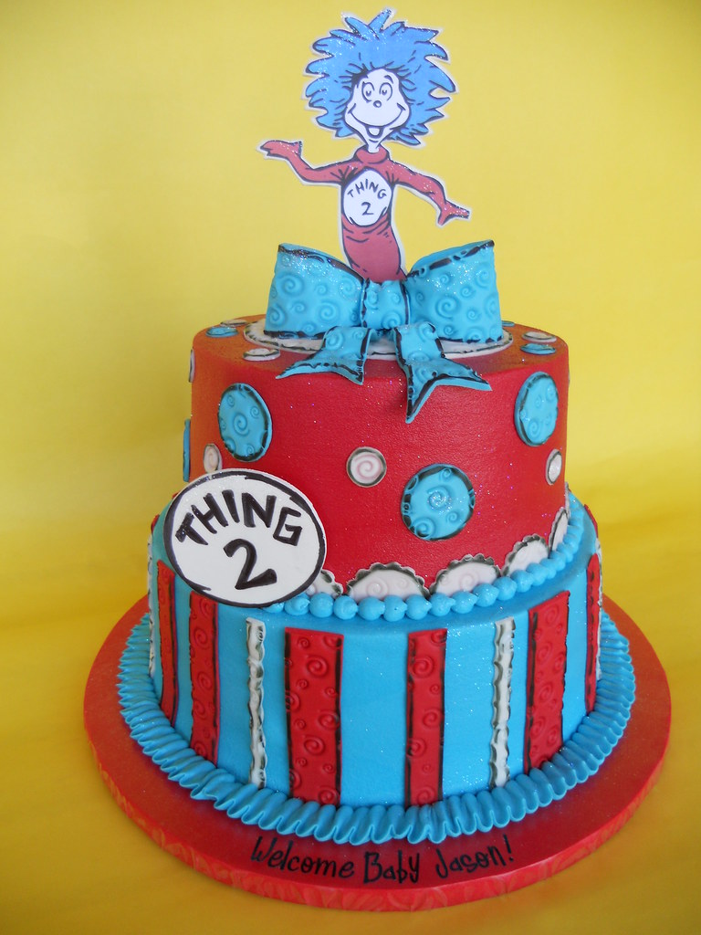 Dr. Seuss Thing 2 Baby Shower Cake