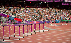 sprint(0.0), modern pentathlon(0.0), running(0.0), physical exercise(0.0), athlete(0.0), athletics(1.0), track and field athletics(1.0), sport venue(1.0), 110 metres hurdles(1.0), obstacle race(1.0), 100 metres hurdles(1.0), sports(1.0), hurdle(1.0), heptathlon(1.0), stadium(1.0), hurdling(1.0),