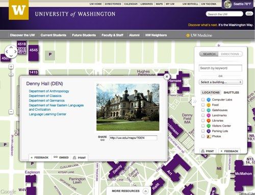Denny Hall (DEN) on University of Washington Campus Map