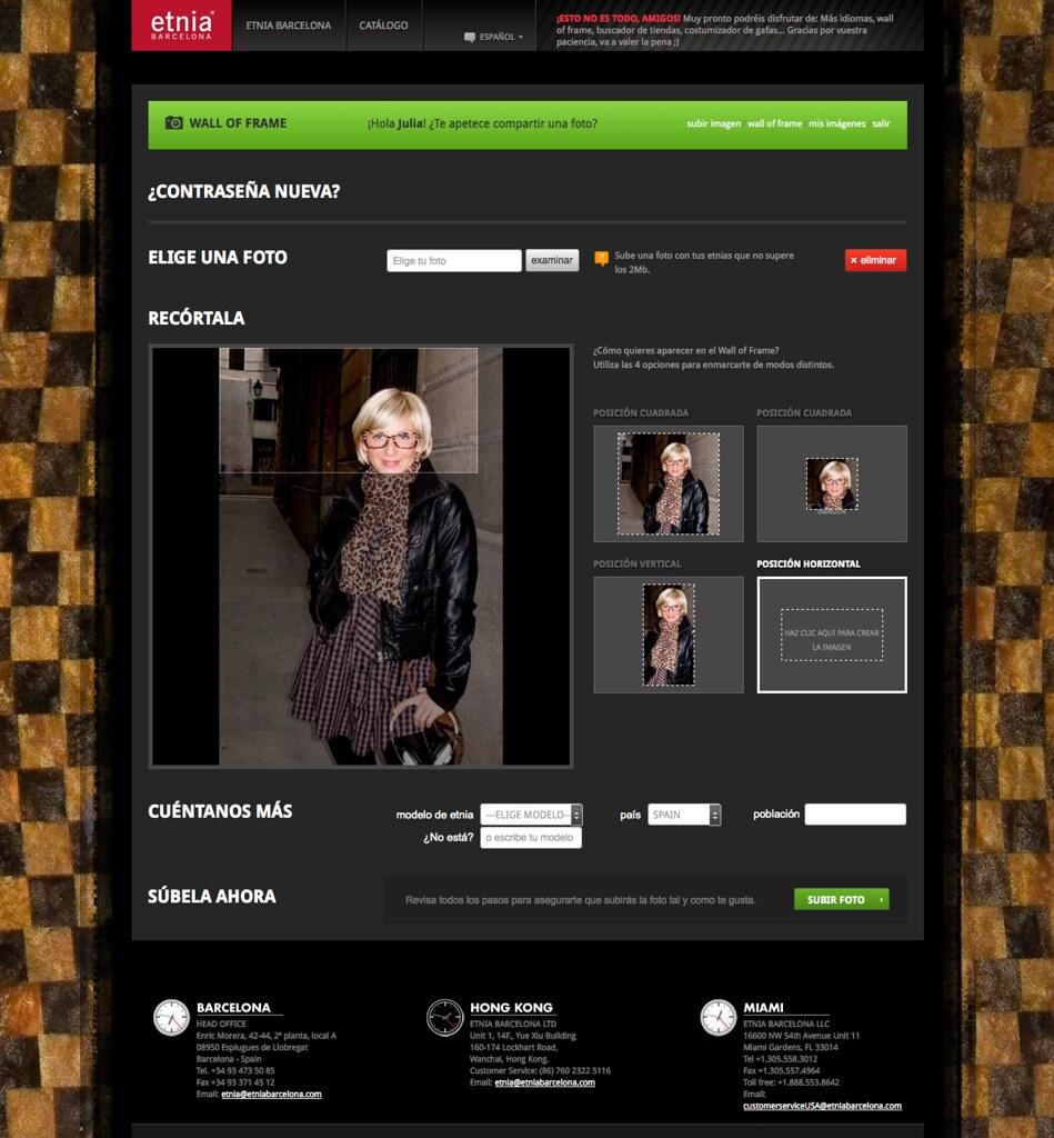 Etnia Barcelona | WallOfFrame user interface