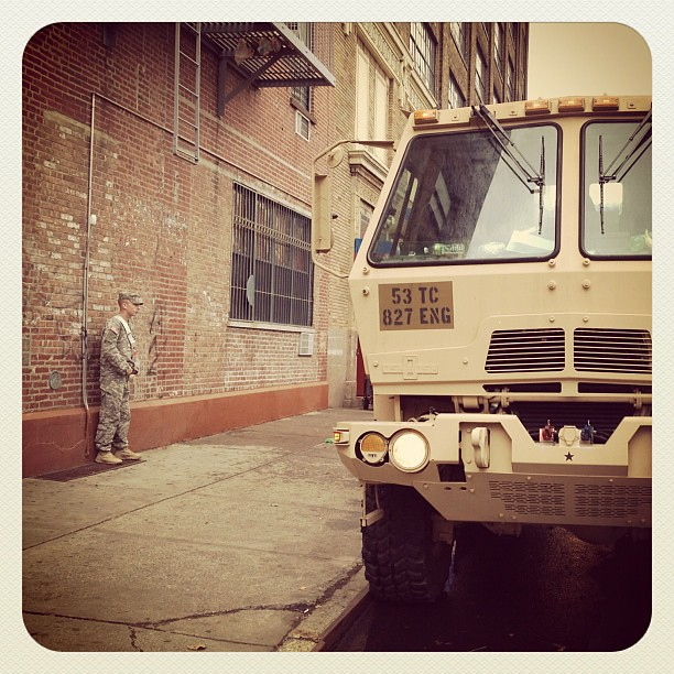 National Guard on Ave D and 10th #sandy #nyc #alphabetcity
