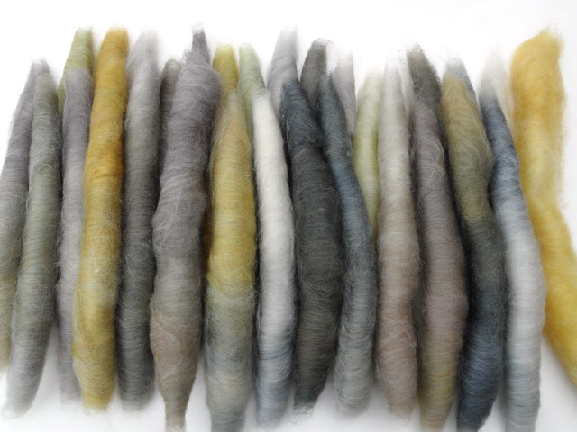 FCK-Greek Myths-fiber club-October 2012-Persephone-Despair-4oz-80-15Polwarth-Tussah Silk-hand carded-2