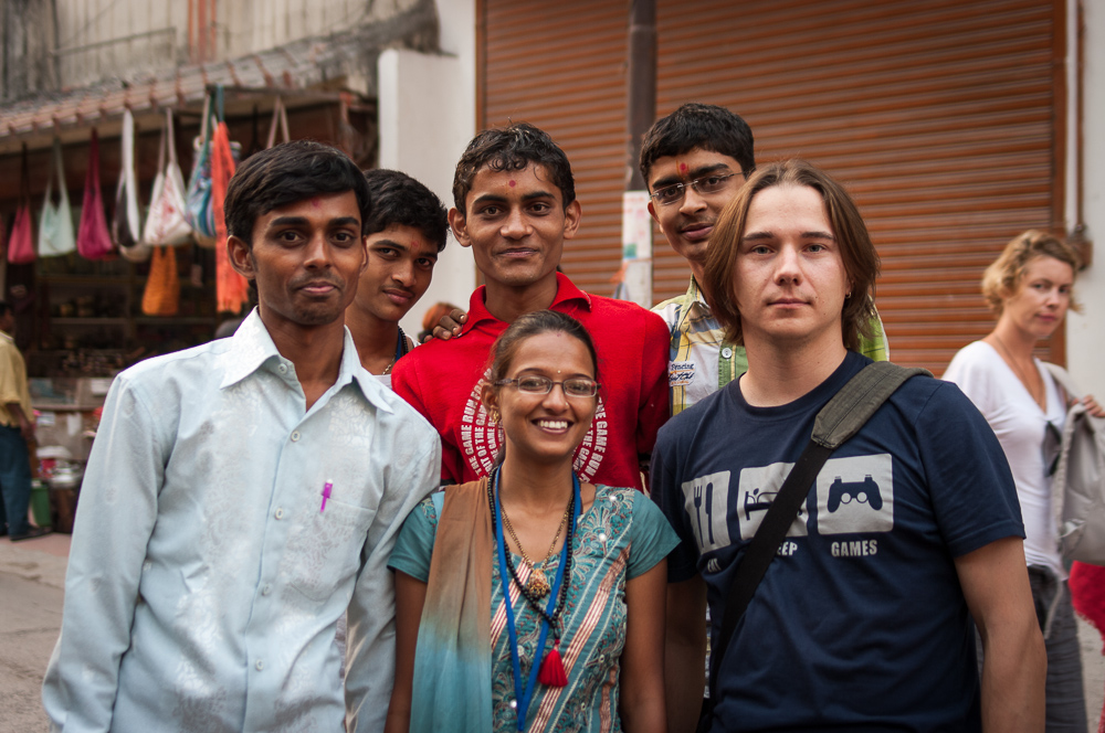 Indian tourists with Belorussian one