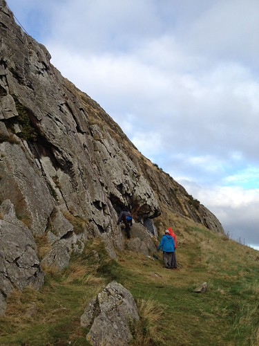Chris running his bottom-rope with David and Nic as his clients, Overhang Wall, Traprain Law